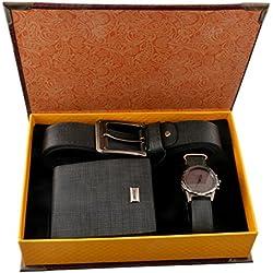 Souarts Mens Artificial Leather Quartz Analog Wrist Watch Belt Wallet Gift Set Christmas Gift Dark Blue