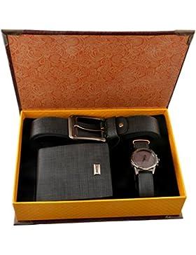 Souarts Herren Geschenkset mit Armbanduhr Geldbörse Gürtel Geschenkset für Herren