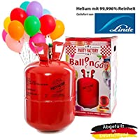 Party Factory Ladenburg Ballongas Helium Flasche für 50 Luftballons inkl. 50 Party Ballons