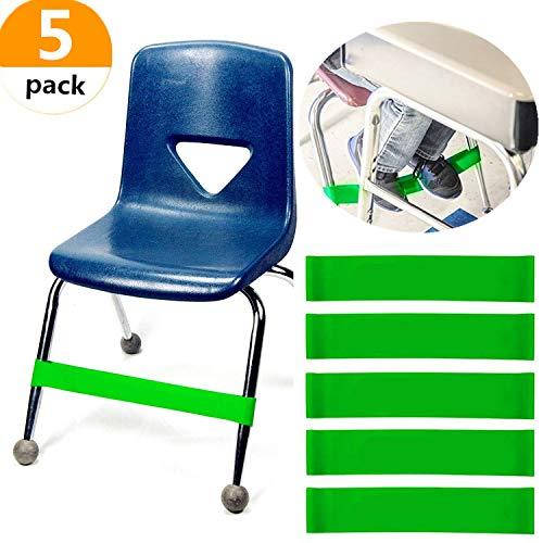 Set mit 5 JeVenis Naturlatex-Stretch-Fußgurten Bouncy Chair Zappelband-Workout Autismus-Sensorik braucht Stretch-Fußband für Stühle von Rehab oder Physiotherapie Fokus-band
