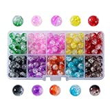 Efivs Arts 10 Color(about 200pcs) 8mm Child Diy Handcrafted Crackle Lampwork Glass Round Beads for Children Necklace and Bracelet Crafts Jewellery Making-j001