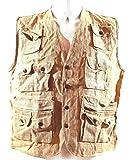 CANNABIS CLUB Safari-Weste Größe XL 100 % Hanf natur Angler- Weste mit 11 Taschen
