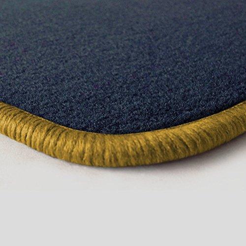 Preisvergleich Produktbild Eight Tec Handelsagentur V312ET_30166 Passgenaue Velours-Fußmatten Dunkelblau und Rand in Gold - Fahrzeugtyp in der Artikelbeschreibung beachten!