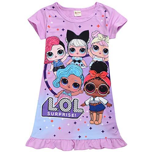 Schlafanzug/Schlafanzug mit niedlichem Puppen-Motiv, bequem, lose Passform, für Mädchen Gr. 130 cm, Violett (2)