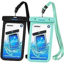 Mpow【2 Pack】 Pochette étanche Certifiée IPX8, Sac étanche Protection Contre la Submersion pour iPhone 11/iPhone XR/XS/X/8/8 Plus/7/7 Plus/Galaxy S9/S8/S8 Plus/S7/Mate 20/P10/P9/P8 6.5 Pouce