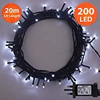 ANSIO Christmas Lights 200 LED 20 m White Indoor/Outdoor Christmas Tree Lights, Fairy Lights, String Lights Xmas/Bedroom/Party/Decorations 65 ft Lit Length 3 m Lead Wire - Mains Powered Green Cable