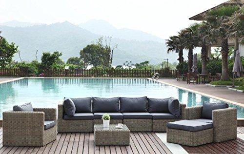 Au jardin de Chloé - Salon de Jardin modulable en résine tressée Ronde Prestige - Liberty Cool Plus Osier Naturel - 7 Places