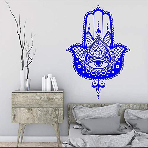 Hand Wandtattoo Vinyl Aufkleber Fischauge Indischer Buddha Yoga Fatima Lotus Wohnaccessoires Haus Schlafzimmer Dekoration 84 * 57 cm
