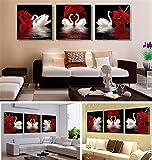 XINLE Modische Wohnzimmer dekorationsmalerei, Klassiker zu Hause hängen gemälde, die Rote Rose, schönen Schwan dekorieren Ihre schöne Heimat,40 * 40(cm)*3