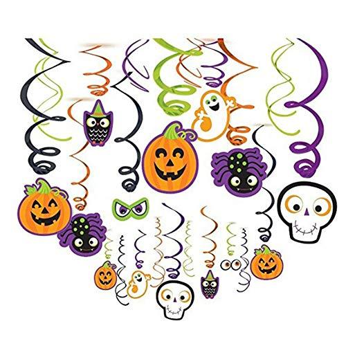 JYOHEY 30 Stück Spiralen Deko Kürbis Spinne Geist Schläger Hexe Halloween hänge deko Swirls Dekoration Für Halloween Party