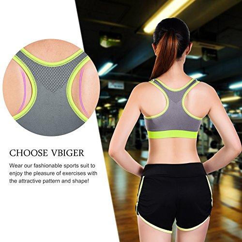 VBIGER Soutien-Gorge de Sport Pantalon de Yoga Gym Tenues Respirants pour Femmes Gris