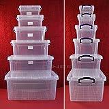 Aufbewahrungsbox mit Deckel Tragegriff Stapelkiste Aufbewahrungskiste stapelbar (1,75L - 9,5x21,5x14,5cm) Lebensmittelecht