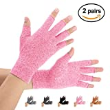 Brace Master Arthritis Gloves 2 Pairs, Compression Gloves Support and Warmth for Hands, Finger Joint, Relieve Pain from Rheumatoid arthritis, Osteoarthritis, Carpal Tunnel, Tendonitis, Women and Men (Pink, Medium)