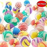 THE TWIDDLERS Lot de 90 balles trés rebondissantes en Caoutchouc - Une variété des Couleurs et de Designs - pour Enfants Party Favors, fête Sac Cadeau, Pinata Anniversaire Cadeaux, bonbonniere