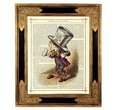 Kostüm Alice Haus - Alice im Wunderland Verrückter Hutmacher Poster Kunstdruck auf antiker Buchseite Kinderzimmer Deko Geschenk ungerahmt