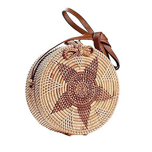 Purebesi Handarbeit häkeln Tasche, gestrickte Tasche, Mode gewebt Umhängetasche, kreisförmige Strandtasche, Beach Star Aufbewahrungstasche für Frauen Handmade Crochet Mode