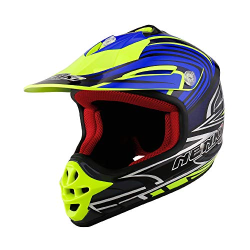 NENKI casco motocross bambino NK-303, ECE Approvato (Black Yellow Blue, XXXS(49-50CM))