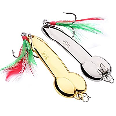 DouTree 2018 2PC Spoon Fishing Lure Feather Hooks Gold/Silver Metal Bait Tackle from DouTree