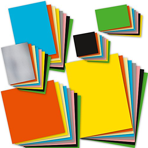 TATMOTIVE Bastelpapier Set bunt 8 Farben x 6 Formate je 5 Blatt = 240 Blatt, 120g farbiges Tonpapier