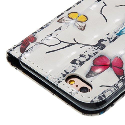 Per iphone 6 /iphone 6S Cover Libro Portafoglio ,OYIME Custodia in Pelle Disegno 3D Glitter Lusso Elegante Originale Antiurto Antiscivolo Antigraffio con Cordino Porta Carta Credito e Chiusura Magneti Farfalla Albero