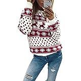 MIOIM Damen Weihnachten Pullover Schneeflocke Elch Muster Rundhals SweatshirtHerbst Winter Langarm Oberteile Rot M