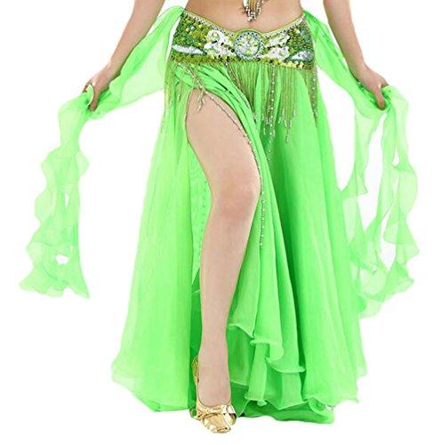 YuanDian Damen Chiffon Einfarbig Professionelle Tänzerin Bauchtanz Spliss Öffnungs Swing Long Rock Tanzkostüm Bauch Dance Kleid Frucht Grün (Nicht inbegriffen ist (Weiß Dance Kostüm Und Belly Schwarz)