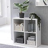 FineBuy Design Bücherregal Eddy mit 4 Fächern Weiß Standregal Holz Regal freistehend | Ordnerregal Raumteiler Würfel-Regal Modern | Offenes Aufbewahrungsregal