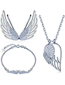 Yumilok 925 Sterling Silber Zirkonia Engelsflügel Halskette Charm-Armband Ohrklemme Schmuck Set Kette mit Anhänger...