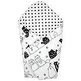 TupTam Baby Einschlagdecke Warm Wattiert Baumwolle, Farbe: Katzen Schwarz/Weiß, Größe: ca. 75 x 75 cm