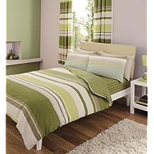 Juego de ropa de cama con rayas contemporáneas colcha, funda de edredón y funda de almohadas en color verde, tamaño doble