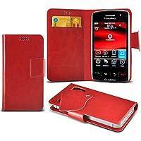 (Red) Blackberry Storm 9500 Mega sottile Protezione in ecopelle ventosa Custodia a portafoglio Pelle Copertura Caso Cover con carta di credito/debito Slot Aventus