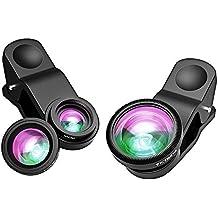 VicTsing Clip-On 180° Fisheye Fischaugen-Objektiv + Weitwinkelobjektiv + Micro-Objektiv 3-in-1 Kamera Lens Kit für iPhone 6 6 Plus 5 5C 5S 4S 4 3GS iPad Sony Xperia HTC Handys - Schwarz ( Weitwinkelobjektiv und Makroobjektiv sind miteinander verbunden )