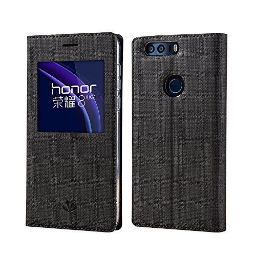 Huawei Honor 8 Hülle,Eactcoo Dünn Premium PU Leder klappbares Folio Flip Case Book TPU Cover Tasche Mit Smart Window View Standfunktion Magnetverschluss Kartenfach Wallet Handyhülle,Black