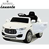 Licensed Maserati Levante Kids 6v Ride on Car with Remote Control - White with Openable Doors, MP3 Input, 2.4G Remote for Smooth Ride