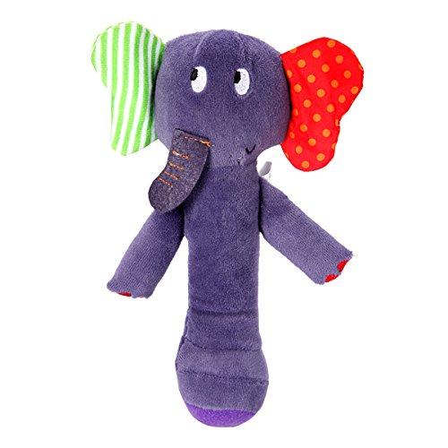 Bluelover Baby corallo bella elefante lanuginoso mano Stick Rattle musica letto campana