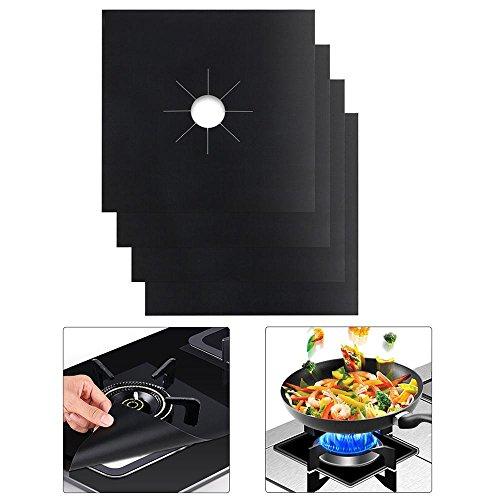 AOLVO - Cubiertas para Quemador de Estufa de Gas, súper Gruesas, 0,4 mm, Revestimiento Reutilizable, Antiadherente, Apta para lavavajillas, tostadora de Gas, Horno de microondas, sartén