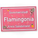 Flamingo Schild - Flamingonia, kleines persönliches Geschenk für sie - süße Deko, Wanddeko, Türschild Mädels-Wohnung und Mädchen-Zimmer, Geschenkidee Geburtstagsgeschenk beste Freundin, Party Deko