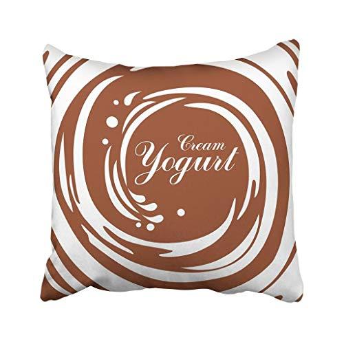 wenyige8216 Brown Creamy Cream Yogurt Chocolate Swirl White Coffee Milk Abstract Brand Candy Circle Throw Pillow Case Cushion Covers 18x18 Coffee Brown Swirl
