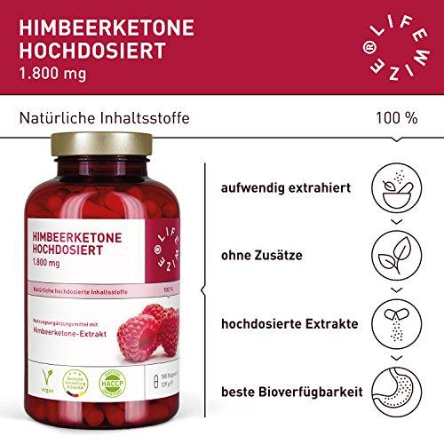 LifeWize Himbeerketon Kapseln (Raspberry Ketone) – 1800 mg Keton Extrakt Tagesdosis – Made in Germany – Hochdosiert, Vegan & Ohne Zusatzstoffe