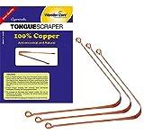 Wonder Care - 100% Copper Tongue Scraper / pulitore Antibatterico Ayurvedico per l'igiene orale ottimale (3 Pezzi)