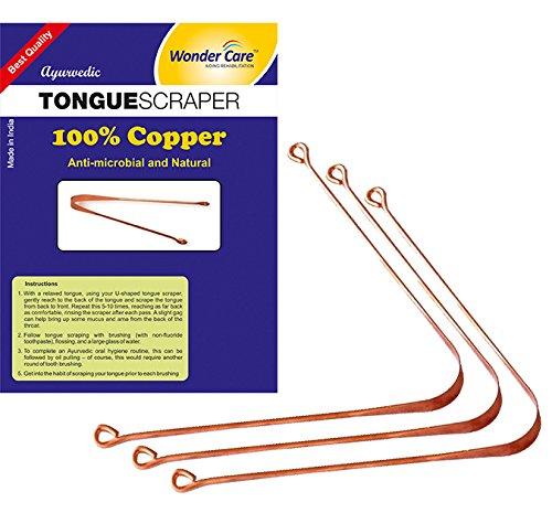 Wonder Care–100% cuivre Langue Grattoir/Cleaner ayurvédique antibactérien pour une hygiène buccale optimale (3Pièces)