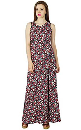 Bimba Frauen lang Maxi mit Blumenkleid Mehrfarbenbaumwoll Tag Kleid schicken Stil Sommerkleidung