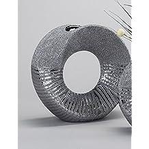 Jarrón, redonda de gres, de plata, 23 cm