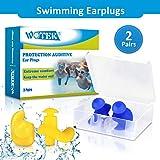 WOTEK WOTEK Ohrstöpsel Schwimmen, 2 Paar wasserdichte Wiederverwendbare Silikon Ohrstöpsel, Weiches Silikon, Geeignet zum Schwimmen, Duschen, Wassersport-Männer und Frauen (gelb & blau)