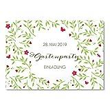greetinks 50 x Einladungskarten für Geburtstag 'Garten Feier' in Rot | Personalisierte Einladungen zum selbst gestalten | 50 Stück Geburtstagseinladungen - Einladungen Party & Jugendweihe