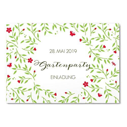 greetinks 30 x Einladungskarten für Geburtstag 'Garten Feier' in Rot | Personalisierte Einladungen zum selbst gestalten | 30 Stück Geburtstagseinladungen - Einladungen Party & Jugendweihe