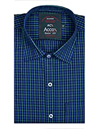 ACCOX Men's Half Sleeves Formal Regular Fit Cotton Check Shirt(Multi,GC122)