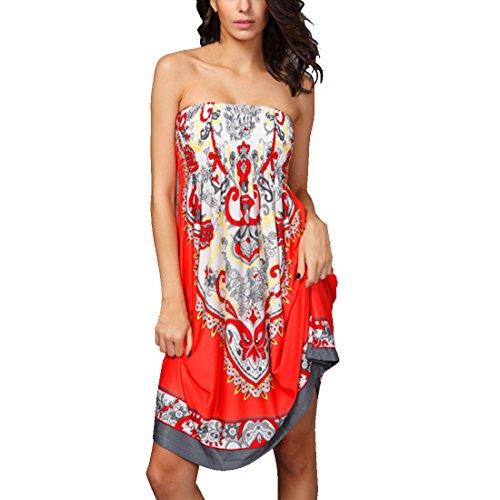 M-Queen Robe D'été Bandeau Robe de Plage Bohème Sans Bretelles Floral Tube Elastique Dress Rouge