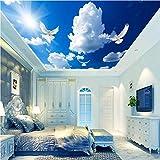 BIZHIGE Papier Peint Photo Personnalisé 3D Stéréo Murale Blanc Nuages De Pigeon Papier Peint pour Salon Papier Peint TV Fond Home Decor-330 × 210 Cm