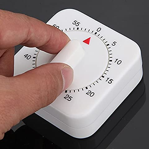 Hrph 60 Minutes Kitchen Timer Count Down Alarm Reminder White Square Mechanical Timer for Kitchen